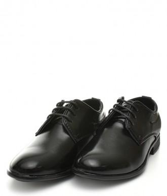 Pantofle chłopięce -Półbuty C150 czarne / lakierowane
