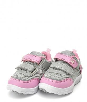 Buty na dziewczynkę American Club -sportowe ES23 szare / różowe